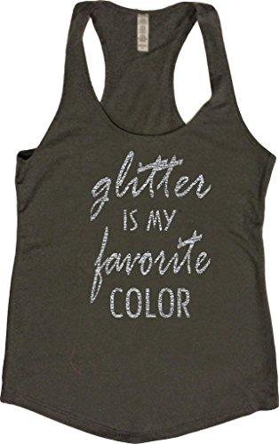 Orange Arrow Women's Dance Glitter Is My Favortie Color Tank (Small, Charcoal) (Glitter Top Print)