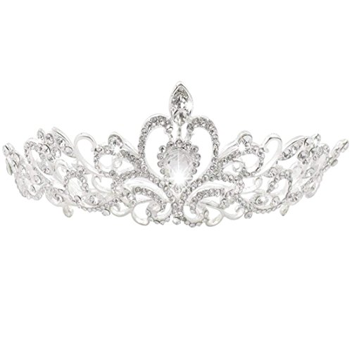 Jmkcoz Wedding Coronal Tiara Rhinestones Crystal Bridal Headband Pageant Silver Princess Crown -