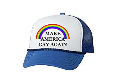 Rogue River Tactical Funny Trucker Hat Make America Gay Again Rainbow Baseball Cap Retro Vintage Joke Gay Lesbian LGBT (Blue)