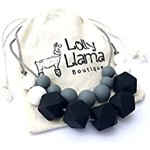 Teething Necklace for Moms by Lolly Llama - BPA FREE Silicone Baby Teether Necklaces/Nursing Necklace with Chewbeads the Perfect Baby Gift