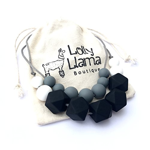 Teething Necklace for Moms by Lolly Llama - BPA FREE Silicone Baby Teether Necklaces / Nursing Necklace with Chewbeads the Perfect Baby Gift
