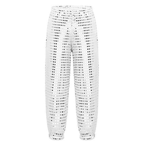 Yeahdor Kids Girls' Boys Glitter Sequins Hip Hop Jazz Dance Pants Hippie Boho Legging Trousers Street Dance Wear Silver 7-8 ()