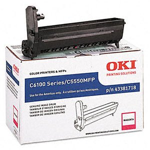 Okidata Genuine Brand Name, OEM 43381718 Magenta Image Drum (20K YLD) for C6100DN, C6100DTN, C6100HDN, C6100N, MC560DN, MC560MFP, MC560N MFP Printers (Drum Image 43381718 Magenta)