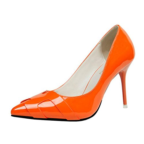 Orange Aiguille Pointu a Binying Femme Bout Escarpins Enfiler qRnw0Op