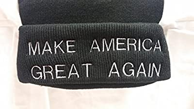 BEANIE KNITTED HAT BLACK Personalized TRUMP-- Make America Great Again --Adult Adjustable, Nice Warm