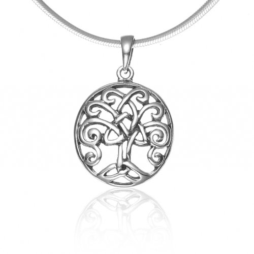 (Chuvora 925 Sterling Silver Celtic Knot Filigree Trinity Tree of Life Oval Pendant Necklace, 18 inches)