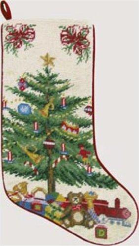 Christmas Tree on Cream Needlepoint Christmas Stocking