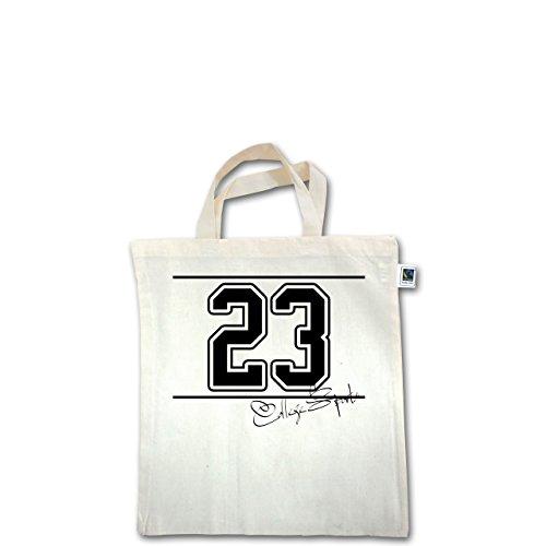 Basketball - College Sports Zahl Oldschool - Unisize - Natural - XT500 - Fairtrade Henkeltasche / Jutebeutel mit kurzen Henkeln aus Bio-Baumwolle