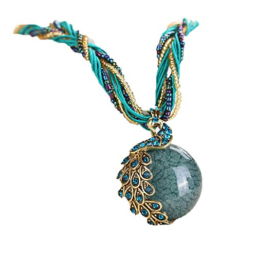 Haluoo Ethnic Vintage Ball Gemstone Pendant Necklace Personalized Antique Hand/Peacock Shaped Rhinestone Copper Wrapped Healing Crystal Charm Handmade Beaded Chain Necklace (Blue(Peacock))