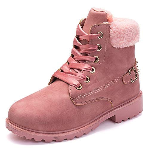 Slduv7 Winter Fur Womens Snow Boots Faux Leather Outdoor Hiking Lace Ankle Bootie for Women - Leather Ankle Boot Lace