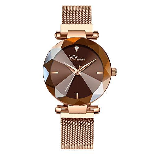 Lefancy Women Ladies Girls Diamond Face Magnetic Strap Rose Gold Mesh Band Bracelet Wrist Watch (Rose Gold-Brown)