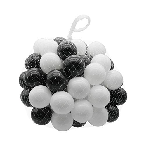 TRENDBOX 100 Ocean Ball (Ship from USA) for Babies Kids Children Soft Plastic Birthday Parties Events Playground Games Pool - Black, White