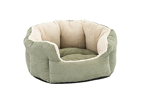 Sleep Zone Faux Suede Reversible Cushion Cuddler Dog Bed - Non-Woven Bottom - 18X16 Inches / Sage / Attractive, Durable, Comfortable, Washable. By Ethical Pets (Dog Beds Deep Dish)