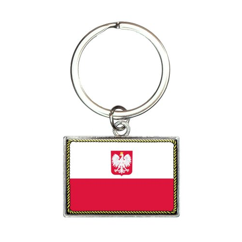 Flag of Poland with Coat of Arms Rectangle Keychain Key Ring