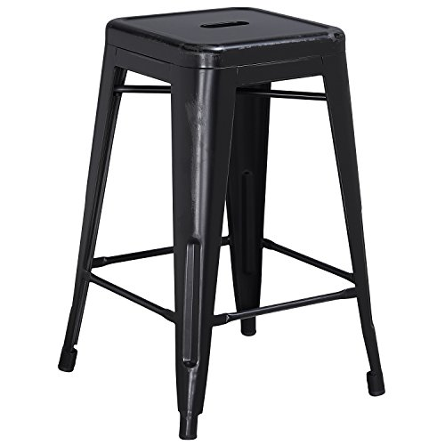 Flash Furniture 24'' High Backless Distressed Black Metal Indoor-Outdoor Counter Height - Distressed Black