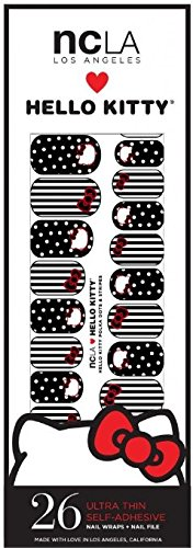NCLA Designer Nail Wraps - Hello Kitty Polka Dots and Stripes - Includes 26 Ultra Thin Self-Adhesive Wraps and Nail File ()
