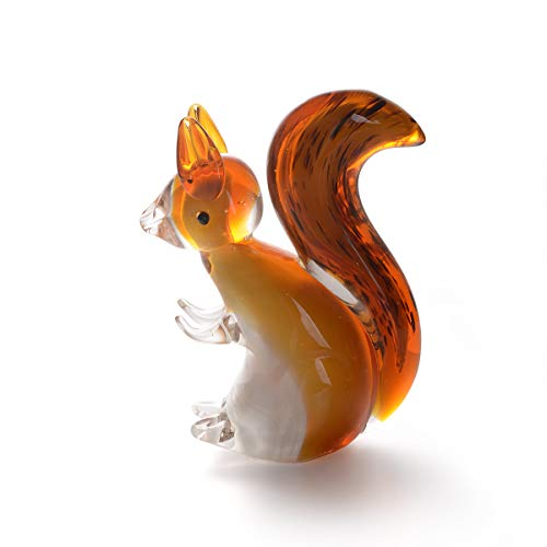 (LONGWIN Hand Blown Art Glass Sculpture Glass Squirrel Animal Figurine Home Decoration Ornaments )
