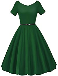 Womens 50s V-Neck Vintage Swing Party Dress with Belt
