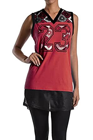 American Bazi Women's Sleeveless Top RSJ923 - RED - Small