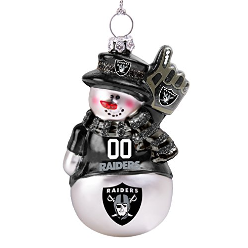 NFL Oakland Raiders Glitter Snowman Ornament