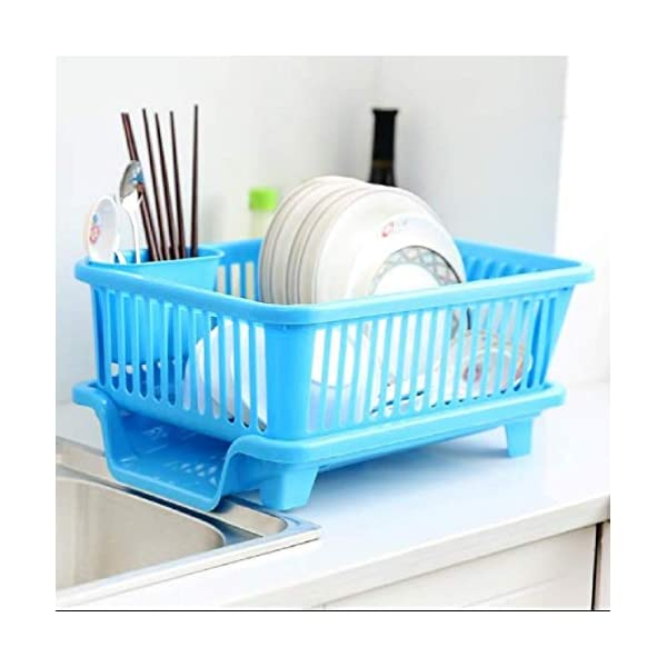 Vruta 3-in-1 Plastic Kitchen Sink Dish Drying Rack (Multicolour, 44x24x14 cm)
