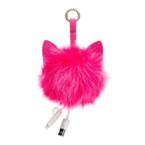 (USB C Keychain Charger: Hot Pink Furry Cat Key Chain with Short Charging Cable Gadgets and Power Bank - Smallest Portable Key Ring Accessories Phone Chargers for iPhone, Android & More )