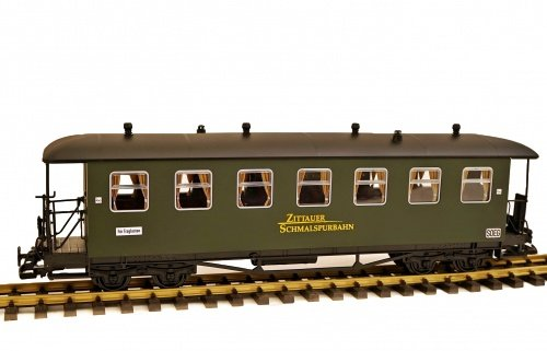 Zenner SOEG Zittauer Personenwagen, grün, 7 Fenster, Runddach, S