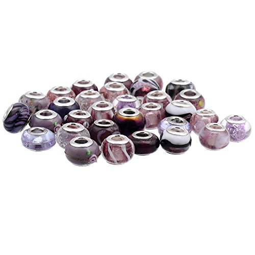 RUBYCA Mix Purple Murano Lampwork Glass Bead Rondelle European Charm Bracelet Silver Color 30pcs