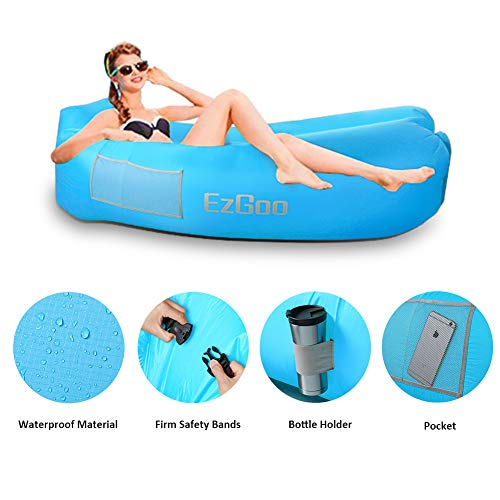 Nylon Center - BRAND CENTER Inflatable Lounger Waterproof Nylon Air Sofa with Anti-Air Leaking Design Hammock Best for Pool, Beach Traveling Camping Picnics & Music Festivals, Blue