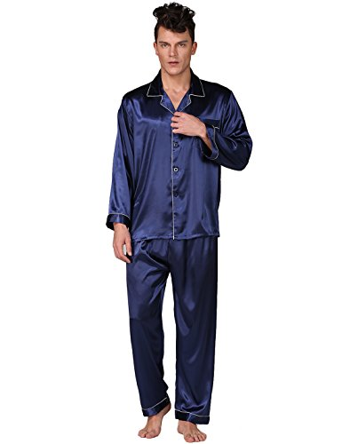 Binken Men's Classic Satin Pajama Set Sleepwear Loungewear