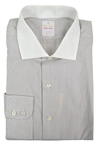 Brooks Brothers Men's Golden Fleece Contrast Collar Dress Shirt White Black Striped (17.5