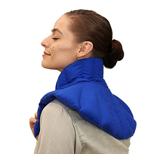 My Heating Pad- Neck & Body Plus - Microwavable Neck Wrap - Reusable Hot Therapy Pack for Tense Neck, Shoulder Muscles, Anxiety & Stress Relief (Blue Plus)