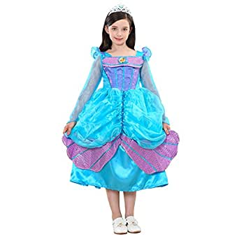 Girls Princess Mermaid Costume Dress up Party Dress with Crown, Blue (110cm/3-4Years)