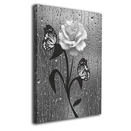 Ale-art Wall Art Decor Modern Black White Bathroom Gray Rose Flower Butterflies Wall Prints Ready to Hang for Living Room Bedroom Bathroom 16'' X ()