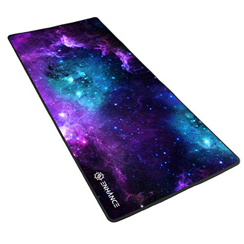 ENHANCE Extended Large Gaming Mouse Pad - XL Mouse Mat (31.5 x 13.75) Anti-Fray Stitching for Professional Esports with Low-Friction Tracking Surface and Non-Slip Backing - Galaxy