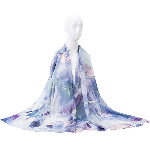 MedeShe Floral Printed Lightweight Chiffon Scarves Holiday Beach Cover Up (70cm×200cm, Lavender Flowers) - Sheer Floral Scarf