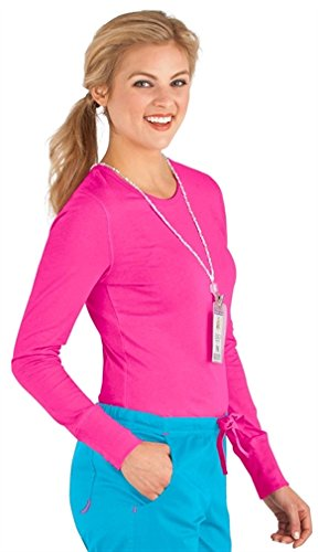 Peaches Med Couture Women's 4859 Long Sleeve Underscrub Tee Shirt- Tango Pink- Large ()