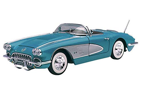 Motormax 1958 Chevy Corvette Convertible, Blue 73109TC/BU - 1/18 Scale Diecast Model Toy - Corvette 1958 Chevy
