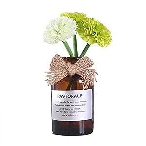 Riverbyland Glass Bottled Artificial Flowers Silk Carnation Ornaments Arrangement Green 16