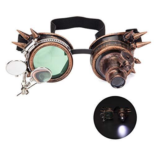 Steampunk Crazy Goggles with Magnifier, Night Vision Festivals Rave Glasses -