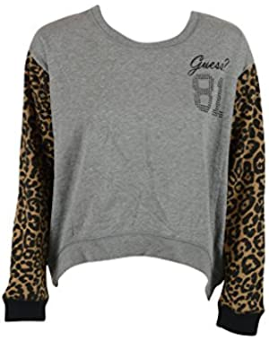 Guess Womens LS Eccentric High Low Leopard Crew Sweater