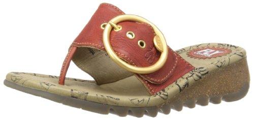 Fly London Trim - sandalias de dedo de cuero mujer rojo - Devil Red