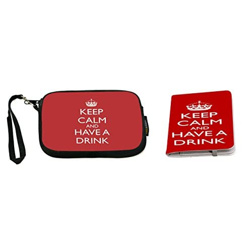 Rikki Knight Keep Calm and Have a Drink Light Pink Color Design Neoprene Clutch Wristlet with Matching Passport Holder