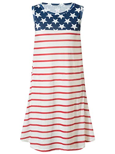 Dasivrry Womens Sleeveless Ruched Fashionable Mini Dress with Sides Pockets Stars Stripes L