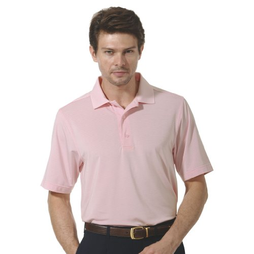 Monterey Club Mens Dry Swing Tonal Texture Stripe Solid Polo Shirt #1098 (Pastel Pink, X-Large)