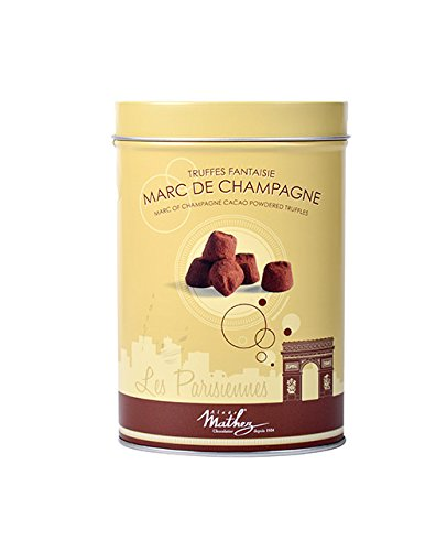 Mathez 'Les Parisiennes', French Chocolate Truffles with Marc of Champagne, 7.1oz (Cocoa Brandy)