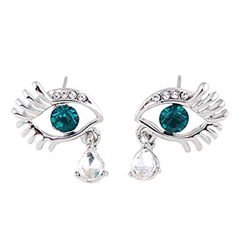 (TOPOB 2019 New Womens Earrings, Fashion Silver Eye Eyelash Crystal Diamond Glittering Stud Earrings (Green))