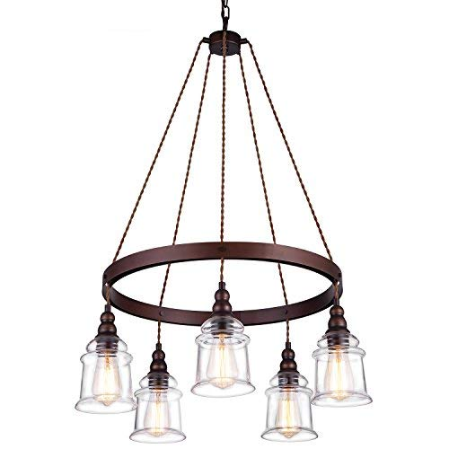 Lanros 5-Light Wagon Wheel Chandelier,Antique Metal for sale  Delivered anywhere in Canada