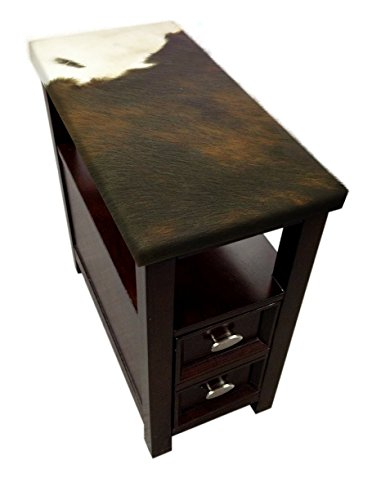 The Furniture Cove New Espresso/Cappuccino Finish Side End Table with Bottom Drawer with Dark Brown Cowhide - Magazine Rack Cappuccino