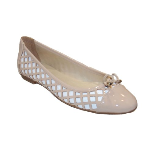 French Sole FS/NY Women's HEX Flat, Beige/White Patent, 9.5 M US